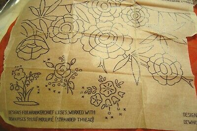Embroidery Transfer Vintage Stylized Art Deco Flowers 1930s