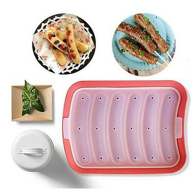 6-in-1 DIY Sausage Making Mold Silicone Burger Hot Dog Kitchen Maker Mould HZ