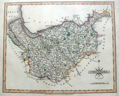 CHESHIRE CHESTER  BY JOHN CARY GENUINE COPPER ENGRAVED ANTIQUE MAP  c1809