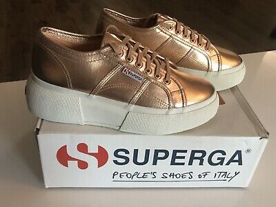 d79ca59a1718 Superga 2287 COTMETW Sneakers Rose Gold Womens Size 9.5 Platform Metallic  Canvas