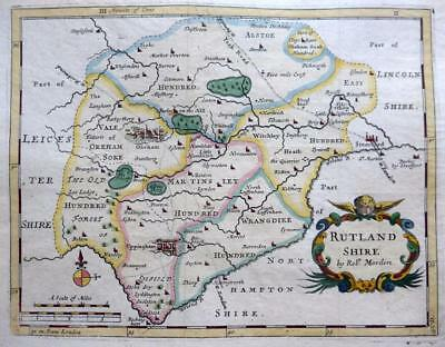 RUTLANDSHIRE RUTLAND BY ROBERT MORDEN  c1727 GENUINE ANTIQUE ENGRAVED MAP