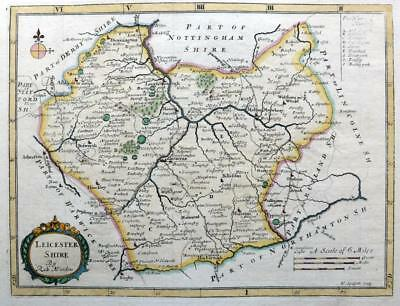 LEICESTERSHIRE   BY ROBERT MORDEN  c1720  GENUINE ANTIQUE COPPER ENGRAVED MAP