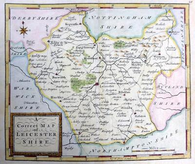 LEICESTERSHIRE LEICESTER   BY THOMAS OSBORNE  GENUINE ANTIQUE MAP  c1748