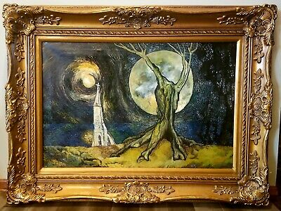 1889 Vincent Signed Oil Canvas Painting The Howling Man Abstract Expressionism