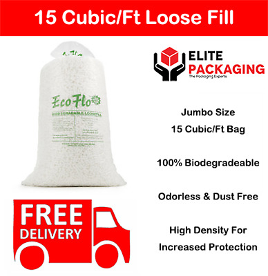 15 Cubic Ft Eco Flo Biodegradable Loose Void Fill Packaging Peanuts High Density