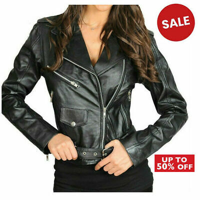 Ladies Women High Quality Genuine Leather Fitted Biker Jacket Zip Up Coat BLACK