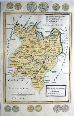 HUNTINGDONSHIRE c1724 BY HERMAN MOLL CAMBRIDGE  GENUINE ANTIQUE ENGRAVED MAP