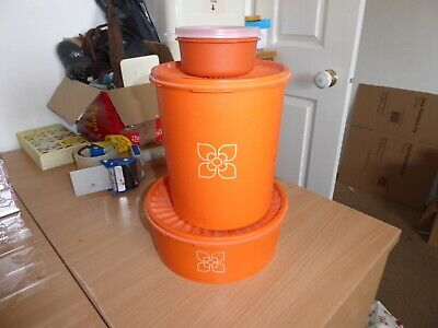 3 Tupperware orange peel containers with lids