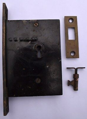 Antique Bronze Victorian Pocket Sliding Door Lock w/ Key and Strike Plate!