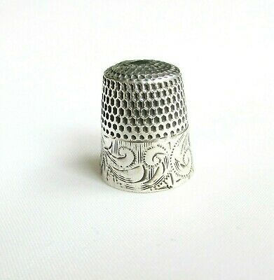 Antique solid silver sterling thimble