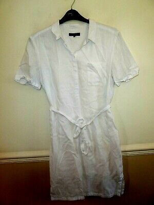 5ccca089f4e JAEGER WHITE 100% linen shirt style dress with tie belt size 14 ...