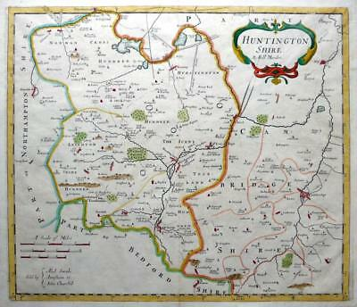 HUNTINGDONSHIRE c1695 BY ROBERT MORDEN CAMBRIDGESHIRE  GENUINE ANTIQUE MAP