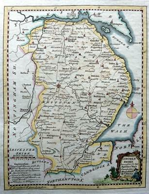 LINCOLNSHIRE LINCOLN THOMAS KITCHIN GENUINE ANTIQUE COPPER ENGRAVED MAP  c1769