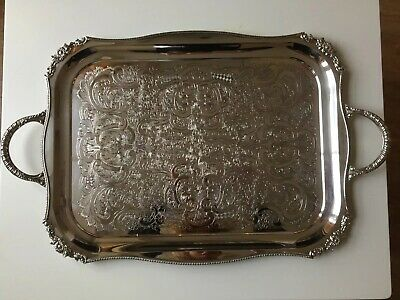 Large Mid Century Viners Silver Plated Serving Tray Twin Handles