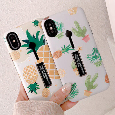 Holder Stand Cactus Pineapple Hybrid Soft Phone case for iphone 6 6s 7 8 plus X
