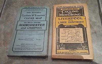 2 x ANTIQUE CYCLING & MOTORING MAPS FOR LIVERPOOL MANCHESTER LAKE DISTRICT