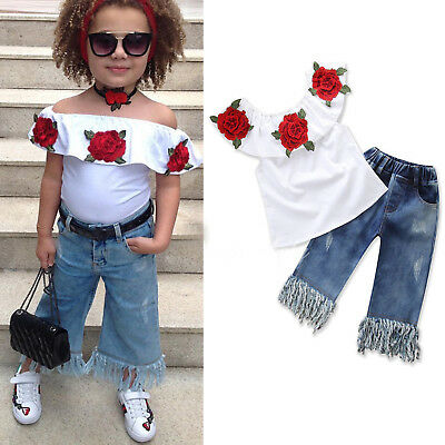 Baby Girls Off Shoulder Outfits Flowers Tops Blouse + Tassels Denim Jeans Pants
