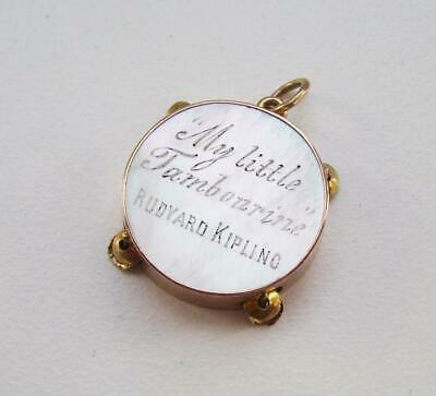 Rare Antique Victorian Solid 9ct Gold My Little Tambourine Kipling Pearl Pendant