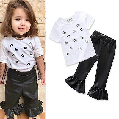 Toddler Kids Girls Short Sleeve Tops T Shirt + Punk Flared Pants Casual Outfits