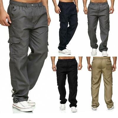 Mens Elasticated Waist Trousers Cargo Combat Lightweight Work Pant Bottoms M-4XL