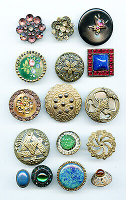 16 Larger Antique Victorian and Other Buttons  Cut Steel Enamel Open Work Brass