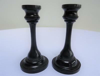 Antique Ebony Pair of Candlesticks - Victorian Edwardian Dressing Table Dresser