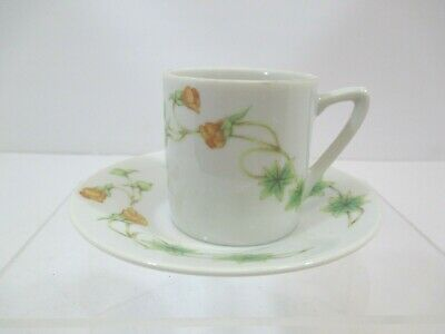 Tuscany Fine China Tahoe Japan Demitasse Teacup & Saucer Yellow Flower Green Ivy