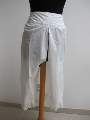 Victorian Bloomers Drawers Antique Cotton Crochet Lace Open Crotch c1890