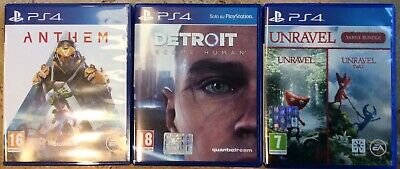 4 Videogiochi, come nuovi, Per PS4, Anthem, Unravel 1 e 2, Detroit Become Human