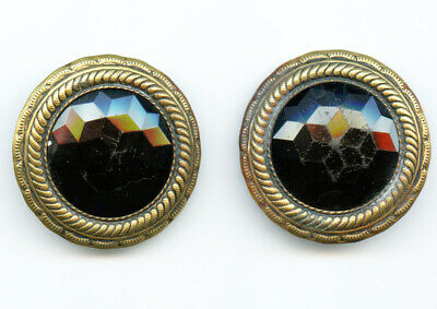 2 Antique Victorian Buttons with Faceted Black Black Glass Center and Brass Trim