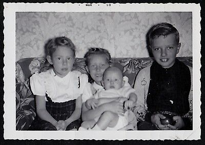 Vintage Antique Photograph Adorable Little Children & Baby on Retro Couch