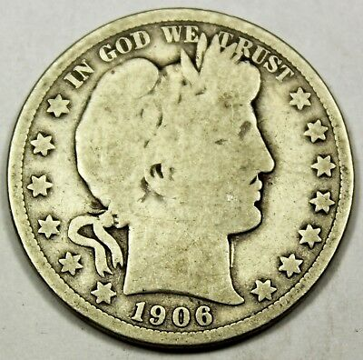 1906-D United States Barber Half Dollar - G+ Good Plus Condition
