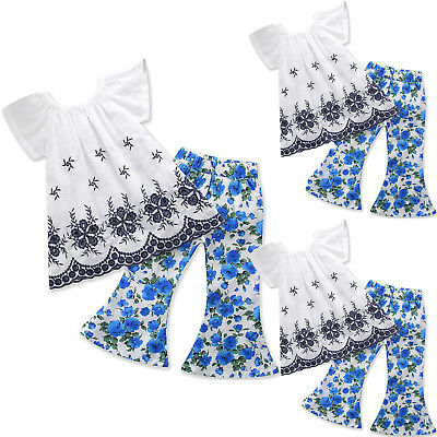 Girls Baby Summer Outfits Kids Short Sleeve Tops+Floral Pants Casual Clothes