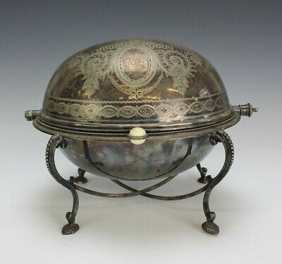 Antique Victorian English Silverplate Roll Top Domed Buffet Breakfast Warmer SRM