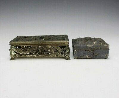 Made Occupied Japan & Chinese Export Pierced Silver Plate Dragon Trinket Box SRM