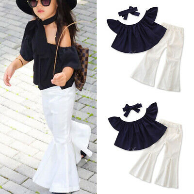 Toddler Kids Girls Outfits Set Off Shoulder T Shirt Tops + Flared Pants Trousers