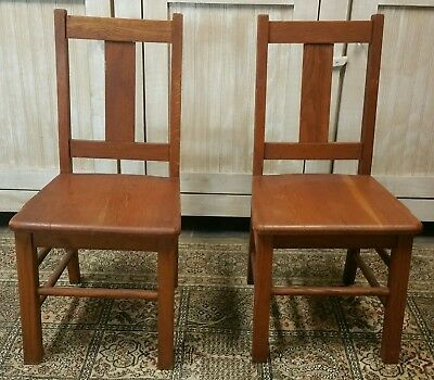 """Vintage Lot Two Antique Wooden 29"""" Chair solid Oak wood School furniture child's"""