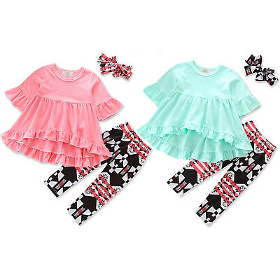 Toddler Kids Girls Outfits Sets Blouse Long Sleeve Tops + Floral Pants Clothes