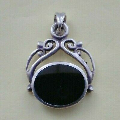Vintage Sterling Silver Chain Fob Pendant With Black Onyx Stone