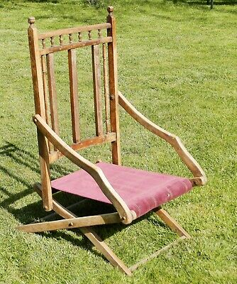 Edwardian Folding Campaign / Steamer Chair in Beech - Restoration Project
