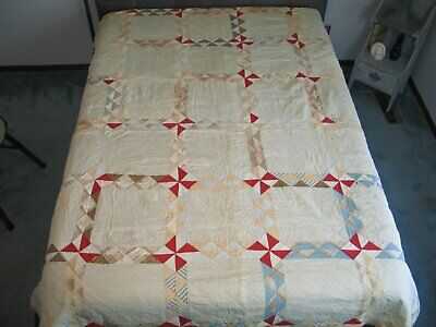 Antique c1800s 1900s Pinwheel Quilt Shirting Prints-Hand Quilted 82 by 68 inches