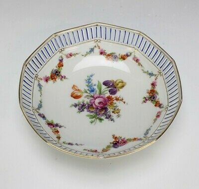 "9"" Schumann Bavaria Reticulated Gallery Floral Gold Gilt Porcelain Dish Bowl SRM"