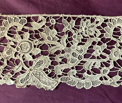 Beautiful Piece Antique French Linen Needlepoint Lace, Hand Made 239.