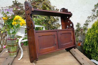 Antique Arts And Crafts Wall Cabinet Shelves By 'Edwards & Roberts' Pierced Wood
