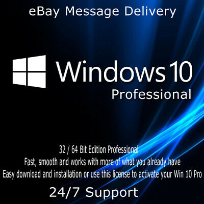 Instant Microsoft Windows 10 Professional Pro code licence key 32 & 64 bits