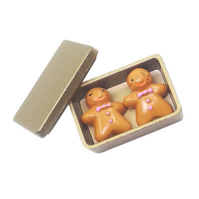 Handmade 1:12 Dollhouse Miniatures Accessories Gold Biscuit Box with Cookies