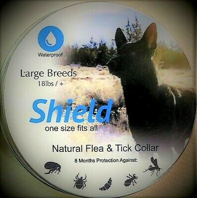3 LARGE BREED WATERPROOF 8 MONTH NATURAL FLEA TICK SHIELD COLLAR DOG OVER 18 lbs