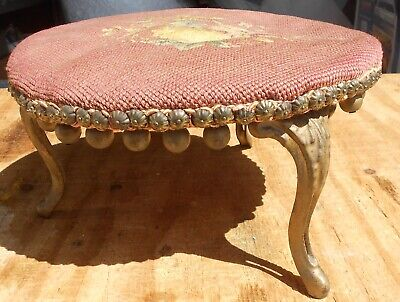 Antique Victorian Americana French Style Round Foot Pink Needlework Stool