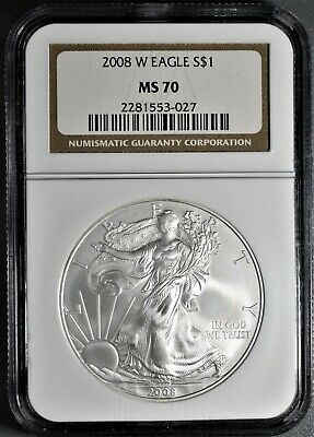2008-W 1oz BURNISHED AMERICAN SILVER EAGLE, CERTIFIED BY NGC MS70,  CP26