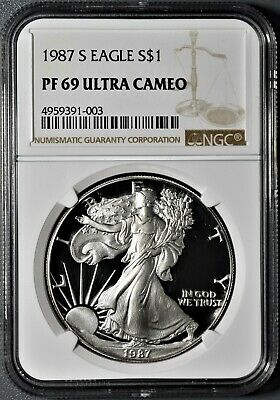 1987-S 1oz PROOF AMERICAN SILVER EAGLE, CERTIFIED BY NGC PF69 ULTRA CAMEO,  CP32